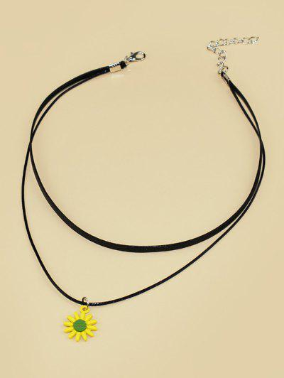 Sunflower Cord Choker Necklace - Black