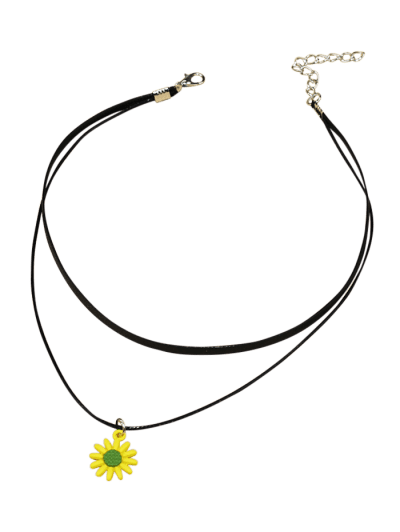 Sunflower Cord Choker Necklace