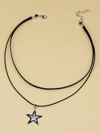 Star Rhinestone Choker Layered Necklace - Black