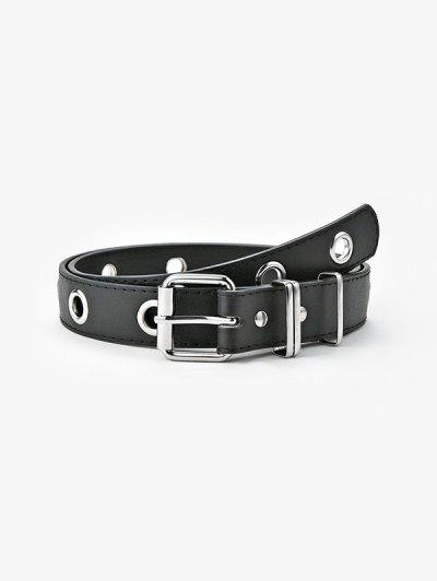 Punk Grommet Pin Buckle Belt - Black