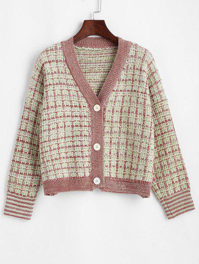Plaid Button Up Cardigan - Green