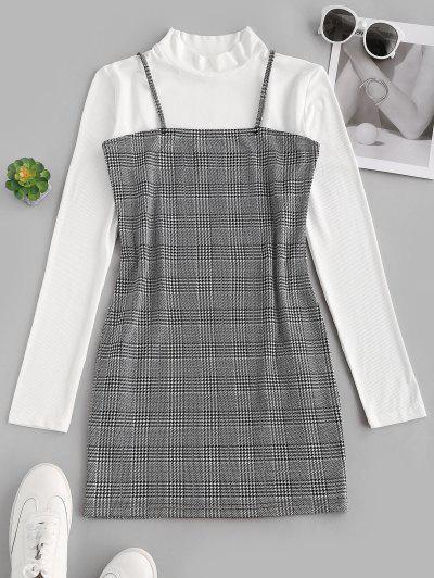 Vestido Ajustado De Impreso Pata De Gallo - Blanco M