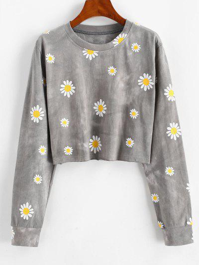 Sweat-shirt Court Teinté Marguerite Imprimée - Gris M