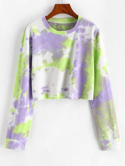 Tie Dye Print Cropped Sweatshirt - Light Purple S