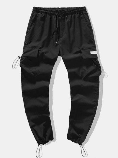 Toggle Drawstring Flap Pockets Pencil Cargo Pants - Black Xl