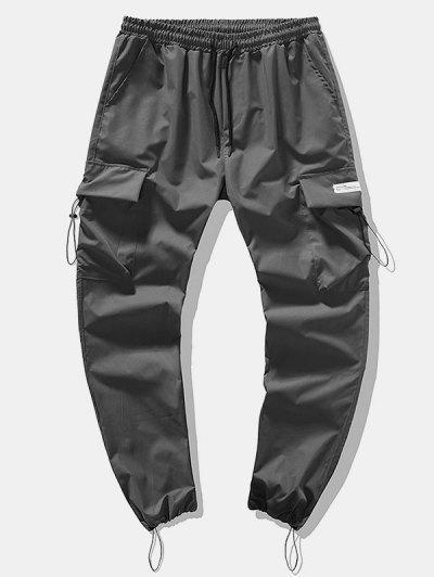 Pantalones De Carga Lápiz De Bolsillo De Solapa Con Cordón De Tobilla - Gris S
