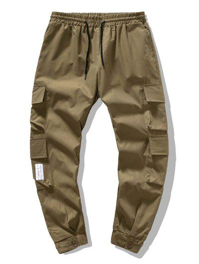 Solid Color Flap Pockets Leisure Cargo Pants - Coffee M