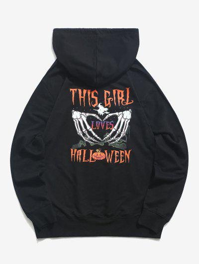 Halloween Heart Hands Graphic Pouch Pocket Drawstring Hoodie - Black L