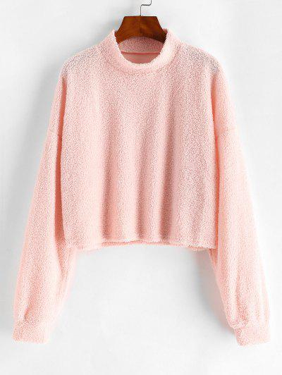 Mock Neck Boxy Teddy Sweatshirt - Light Pink M