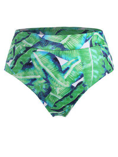 ZAFUL High Waisted Leaves Print Plus Size Bikini Bottom - Light Green Xl