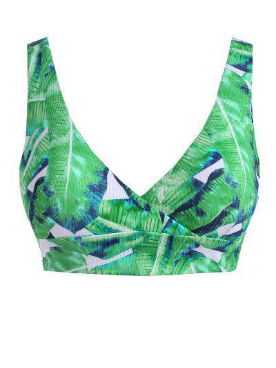 ZAFUL Bikini Top Acanalado Con Estampado De Hojas - Verde Claro Xxxl