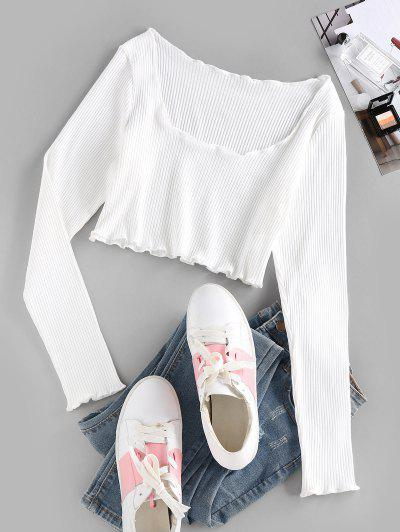 ZAFUL Ribbed Lettuce Trim Crop T-shirt - White M
