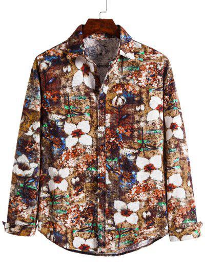 Floral Art Print Button Up Retro Shirt - Multi L