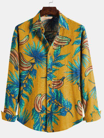 Leaf Banana Print Casual Long Sleeve Shirt - Yellow Xl