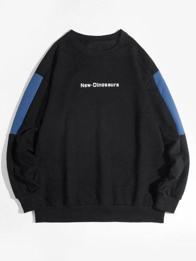 New Dinosaurs Letter Colorblock Drop Shoulder Sweatshirt - Black L