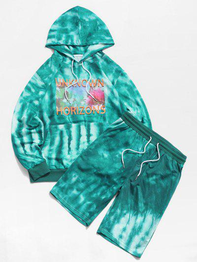 ZAFUL Tie Dye Letters Print Hoodie And Shorts Two Piece Set - Green Xl