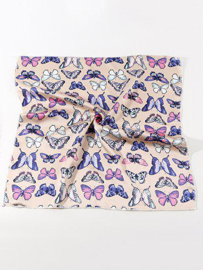 Butterfly Printed Satin Square Scarf - Beige