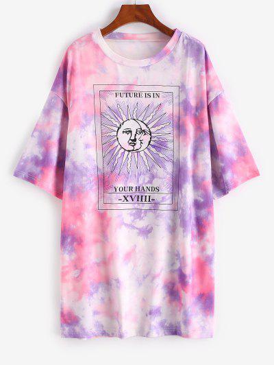 Lou-Ann Vecchia X ZAFUL Tie Dye Sun Pattern Drop Shoulder Tee Dress - Purple Xl