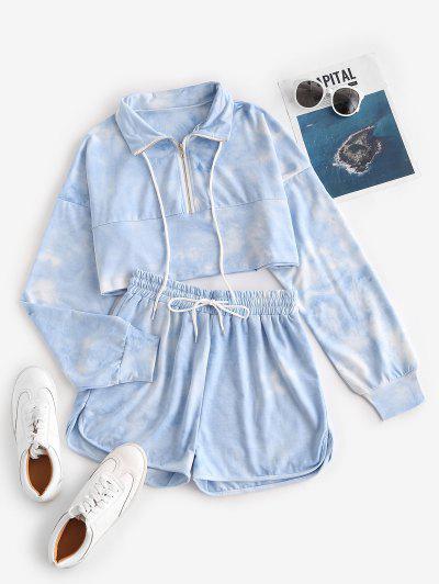 Lou-Ann Vecchia X ZAFUL Tie Dye Half Zip Sweat Two Piece Set - Blue M