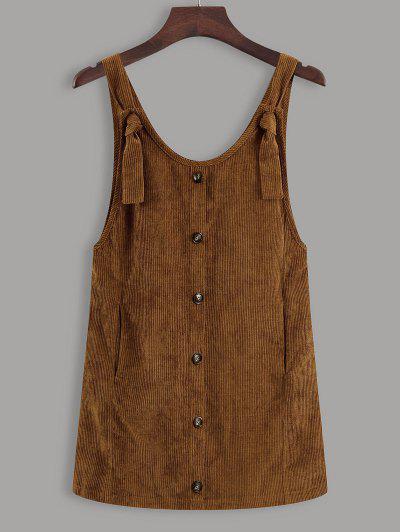 Button Up Tie Shoulder Corduroy Pinafore Dress - Coffee L
