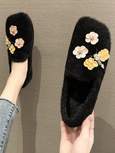 Flower Pattern Plush Flat Shoes - Black Eu 38