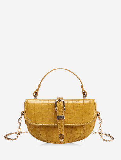 Textured Chain Saddle Hand Bag - Yellow