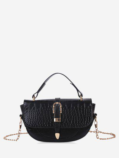 Textured Chain Saddle Hand Bag - Black