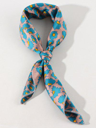 Ditsy Floral Printed Satin Square Scarf - Silk Blue