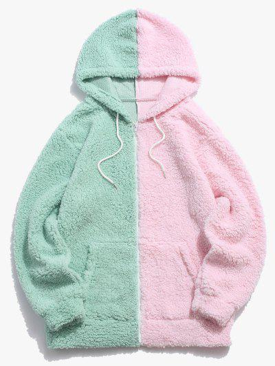 Color Blocking Panel Teddy Hooded Jacket - Light Green Xl