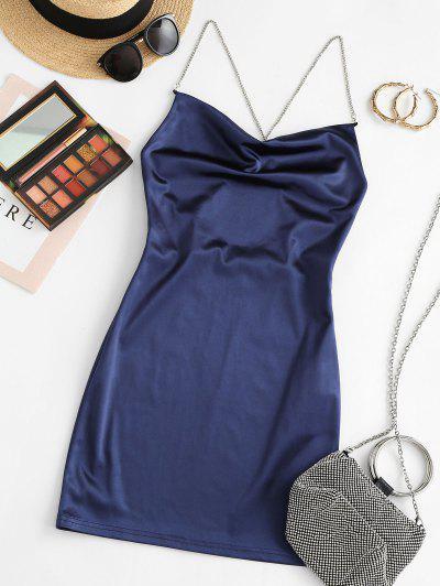 ZAFUL Crisscross Chains Backless Shiny Mini Dress - Deep Blue M