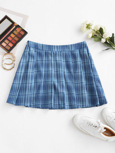 ZAFUL High Waisted Plaid Pleated Skirt - Day Sky Blue M