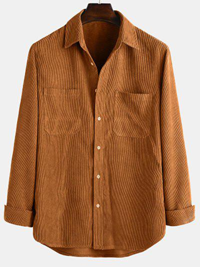 Long Sleeve Solid Pocket Patch Shirt - Coffee L