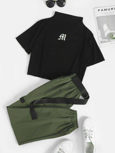Two Piece Graphic Cropped Cargo Pants Set - Black S