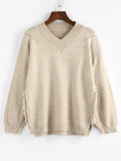 ZAFUL Frayed Slit Drop Shoulder V Neck Sweater - Light Coffee M