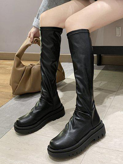 Knee Length Round Toe Platform Boots - Black Eu 39