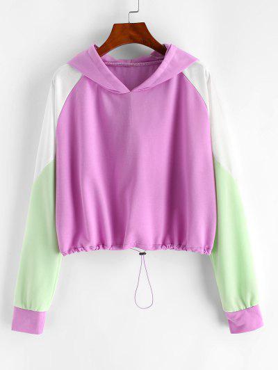 Colorblock Drawstring Hem Raglan Sleeve Hoodie - Light Purple M