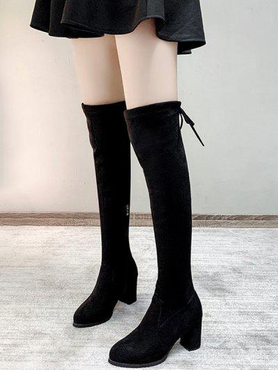 Over The Knee Velour Lace Up Boots - Black Eu 38