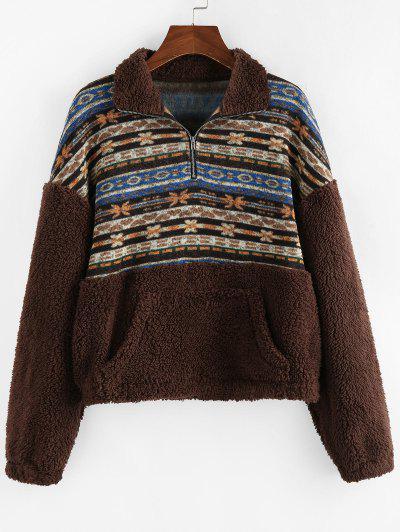 ZAFUL Ethnic Floral Print Zipper Teddy Sweatshirt - Multi-a S