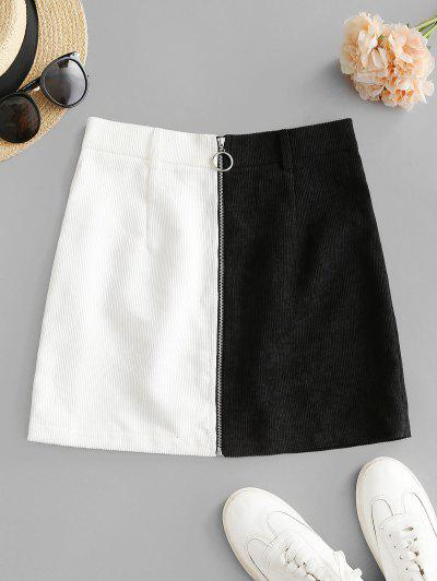 ZAFUL Zip Up Two Tone Mini Corduroy Skirt - Black L