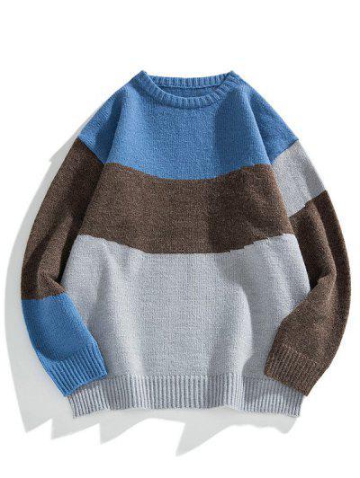 Color Blocking Panel Sweater - Gray Cloud L