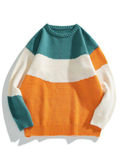 Color Blocking Panel Sweater - Bee Yellow Xs