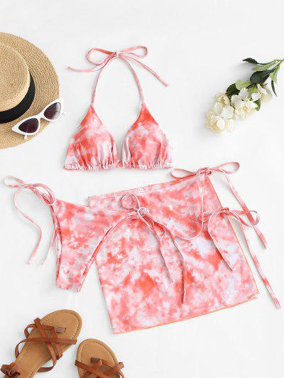 ZAFUL Halter Tie Dye Three Piece Bikini Swimsuit - Light Orange M
