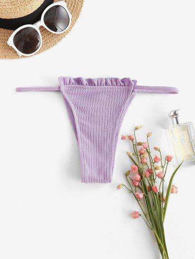 ZAFUL Lettuce Ribbed Tanga Bikini Bottom - Light Purple L