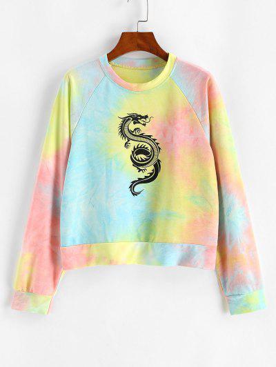 Tie Dye Dragon Print Raglan Sleeve Oriental Sweatshirt - Light Blue M
