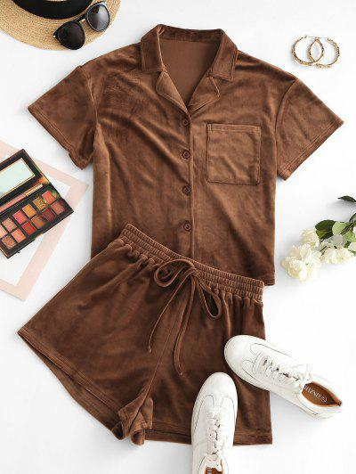 ZAFUL Lounge Fleece Pocket Shorts Set - Camel Brown M