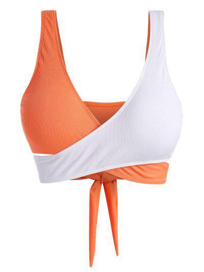 ZAFUL Plus Size Ribbed Two Tone Wrap Bikini Top - Dark Orange Xl
