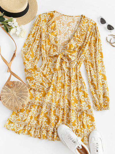 Tie Front Floral Ruffles Long Sleeve Dress - Deep Yellow S