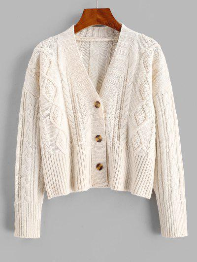 Cable Knit Drop Shoulder Cropped Cardigan - White