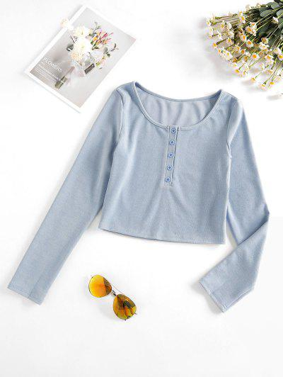 Half Button Cropped T Shirt - Blue S