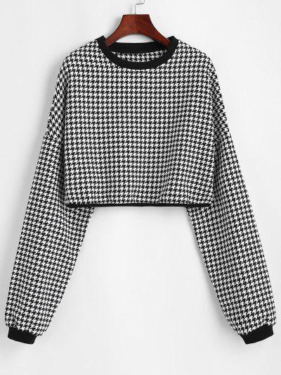 Hahnentritt Boxy Tweed Sweatshirt - Milchweiß